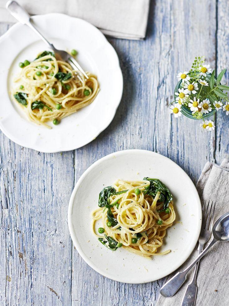 Veggie carbonara - pasta, eggs, ricotta, lemon, peas & spinach. Easter?