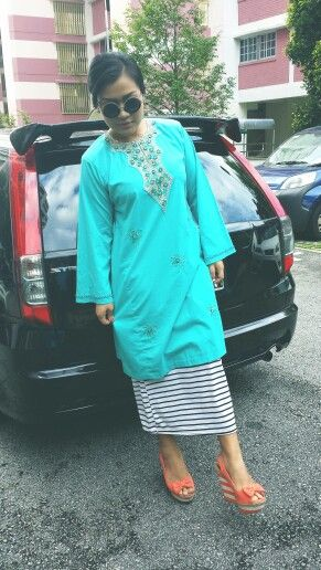 Retro round shades mint green baju kurung stripes orange bow wedges