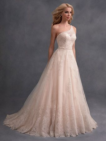 A One-Shoulder, Floor Length, Ball Gown Style, Classic Wedding Dress with a Sweetheart Neckline and Chapel Train