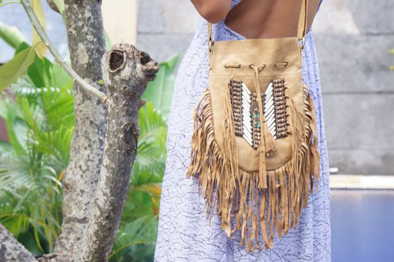 Boho Navajo Tassel Leather Bag Boho Purse by BramsKaraDesign