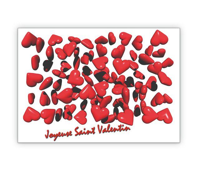 Französische Valentinskarte Mit Vielen Roten Herz: Joyeuse Saint Valentin  ...