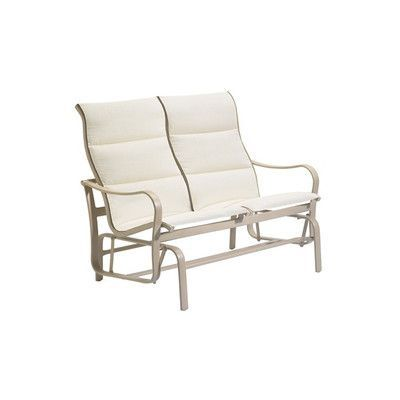 Tropitone Shoreline Padded Sling Double Glider Bench Finish: Parchment, Fabric: Sparkling Water