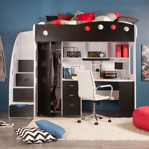 base de lit loft nika noir chambre adolescent pinterest chambres chambre de r ve et. Black Bedroom Furniture Sets. Home Design Ideas