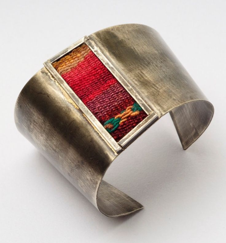 Great looking, rustic metal cuff bracelet with hand woven Native blanket style inlay. - #CowgirlChic