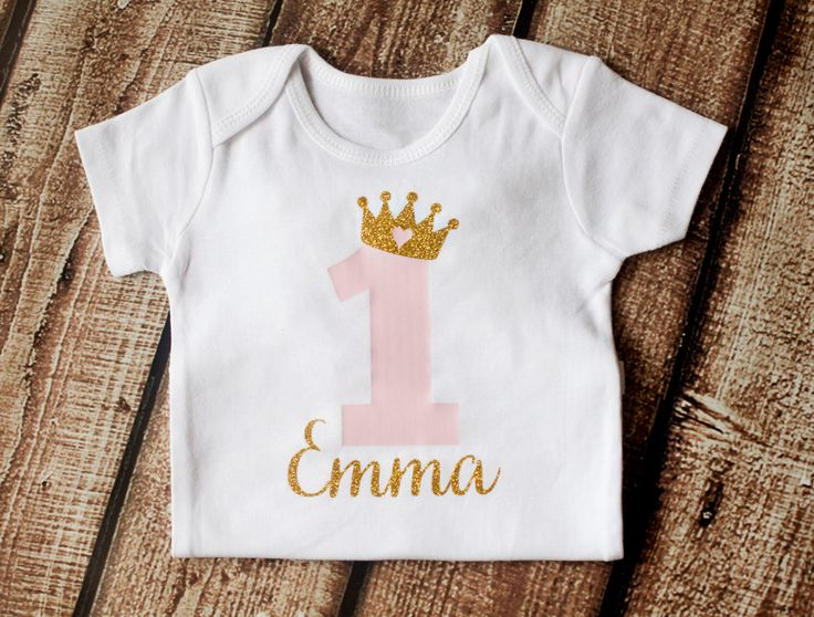 First Birthday Onesie 1st Outfit Personalized Girls Gold Pink Princess Shirt BODYSUIT ONLY