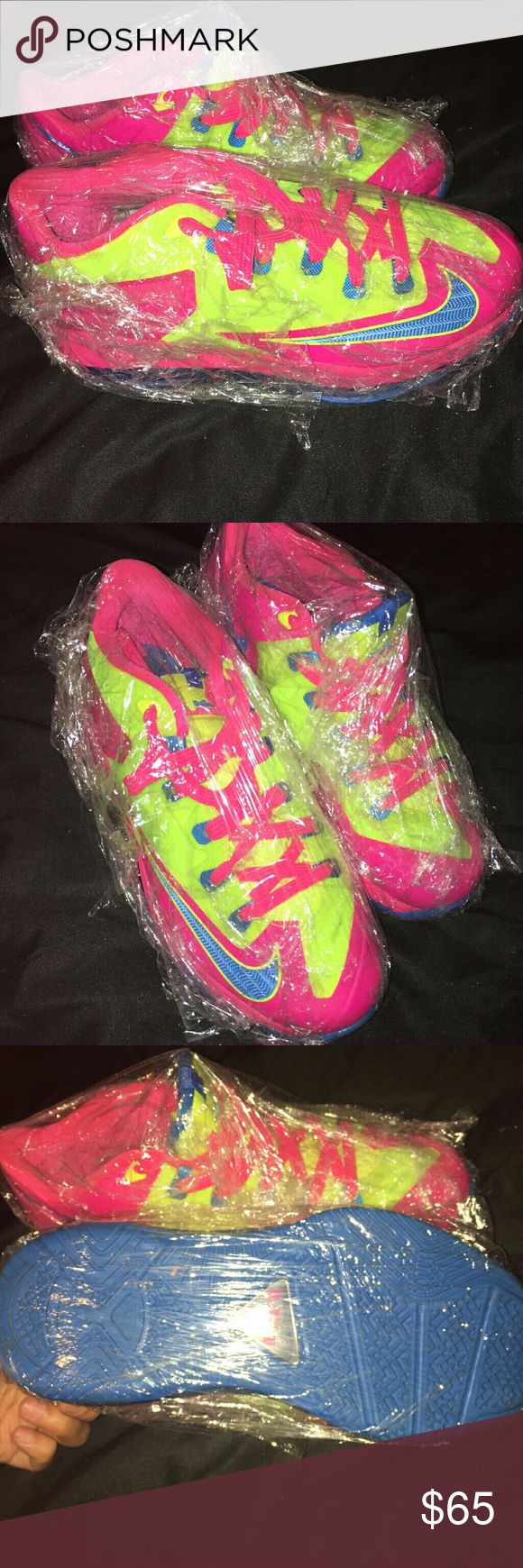 Neon Pink Lebrons size 5 worn once  still look new No box  100% authentic no low balls Nike Shoes Sneakers