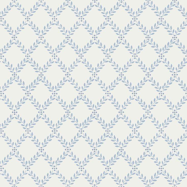 'Trellis Leaves 04' blå/vit - Tapet i kollektionen Falsterbo II - Boråstapeter