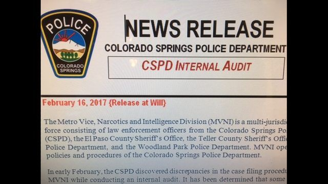 An internal audit has revealed a large number of narcotics cases were not consistently sent from the Colorado Springs Police Department to the El Paso County District Attorney's Office.