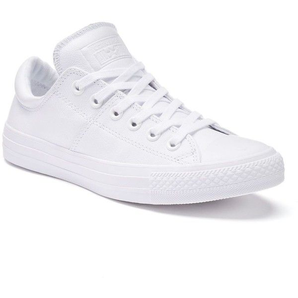 Women's Converse Chuck Taylor All-Star Madison Leather Low-Top... ($65) ❤ liked on Polyvore featuring shoes, sneakers, white, leather lace up sneakers, converse sneakers, converse trainers, converse shoes and white leather sneakers