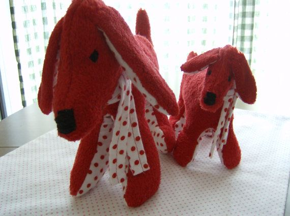 Handmade Plush Stuffed Animal Set Red Dogs all by greenlioness, $24.00: Stuffed Animals, Valentine S Stuffed, Valentines Day, Baby Red, Red Dog