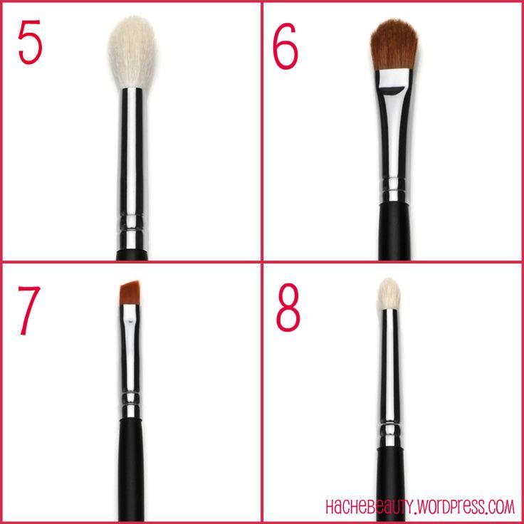 5. Pincel para definir profundidad: Es ideal para definir la profundidad con productos en polvo.(Sigma E35) // 6.Pincel grande para sombra: Ideal para aplicar paint pot (MAC) o sombras en crema sobre el párpado. Permite distribuir el producto con facilidad y suavidad (Sigma E60). // 7.Pincel en ángulo para delinear:  Facilita la aplicación de delineador (Sigma E65). // 8.Pincel lápiz: Para esfumar el delineador o sobra de forma más precisa. (Sigma E30).