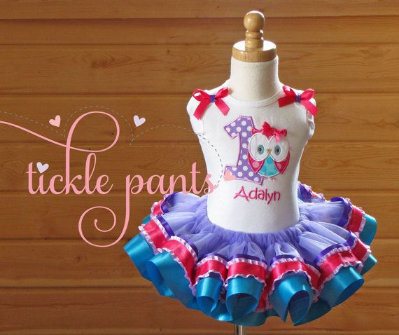 owl birthday tutu outfit bright pink purple by ticklepants on etsy
