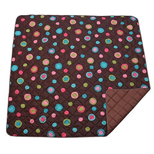 Foldable Large Picnic Blanket, MCIRCO Water-Resistant Backing Beach Blanket Soft Baby Outdoor Blanket(78.74 inch X 78.74 inch) Durable Camping Travelling Mat with Tote Bag for Storage (Brown)