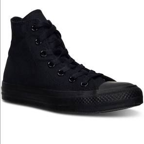 Black high top converse worn twice!