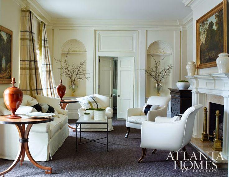 do drapes in burberry plaid designer nancy braithwaite from a book of her work simplicity simon upton photo via atlanta homes lifestyles