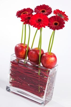 Gerberas rojas con manzanas