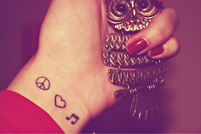 Peace Love and Music - Tattoo by Desi MC, via Flickr
