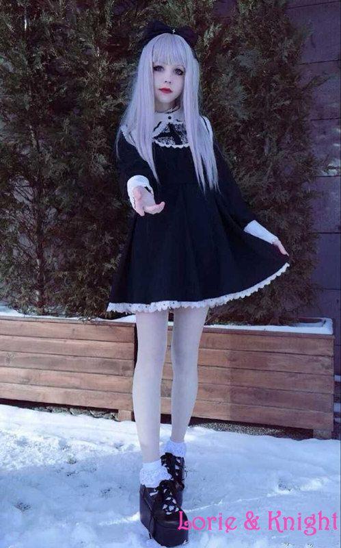 Japonaise Harajuku noir et blanc gothique Lolita robe filles Nun sœur Anime  Cosplay parti robe dans