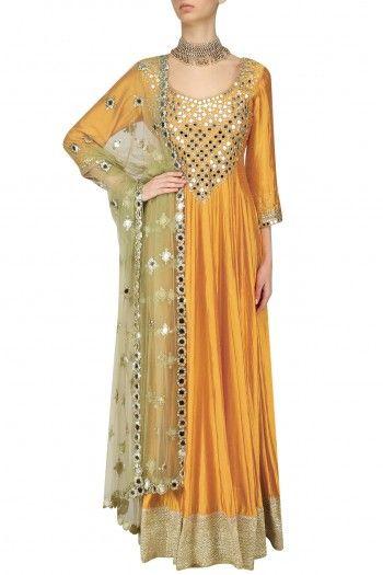 Abhinav Mishra Mustard and Mint Mirror Embroidered Anarkali Set #happyshopping #shopnow #ppus