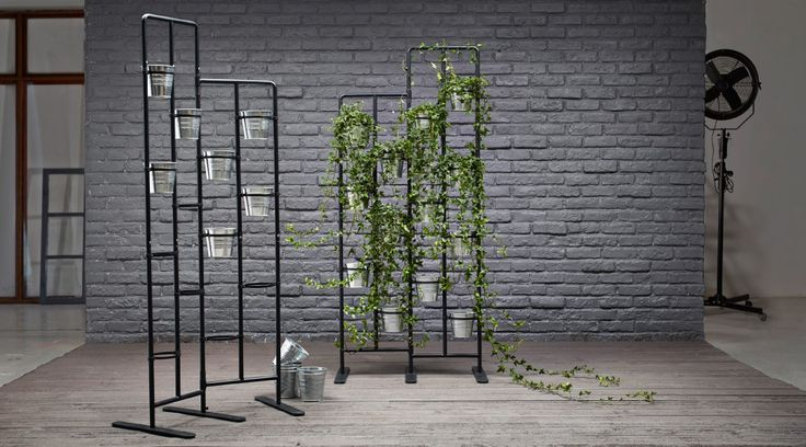 socker plant stands with galvanized plant pots