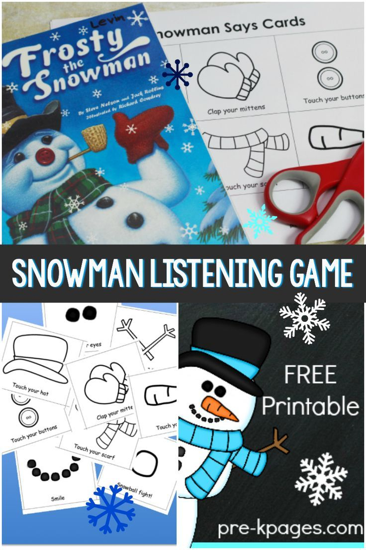 Snowman Listening Game Printable for Preschool Preschool
