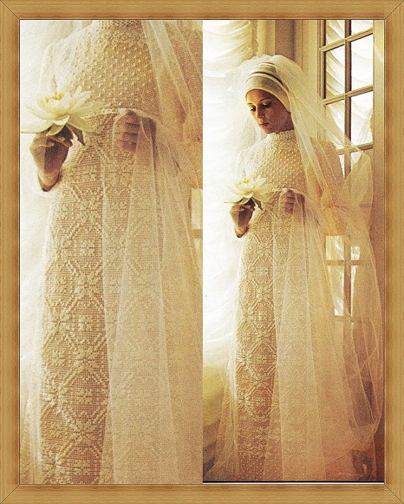Vintage Crochet Wedding Dress Pattern - PDF INSTANT DOWNLOAD - Crochet Pattern Lacy Dress 70s Retro Crochet Gown - Vintage Wedding Day - Vtg