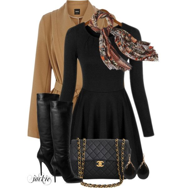 Camel Coat and Black, created by jackie22 on Polyvore