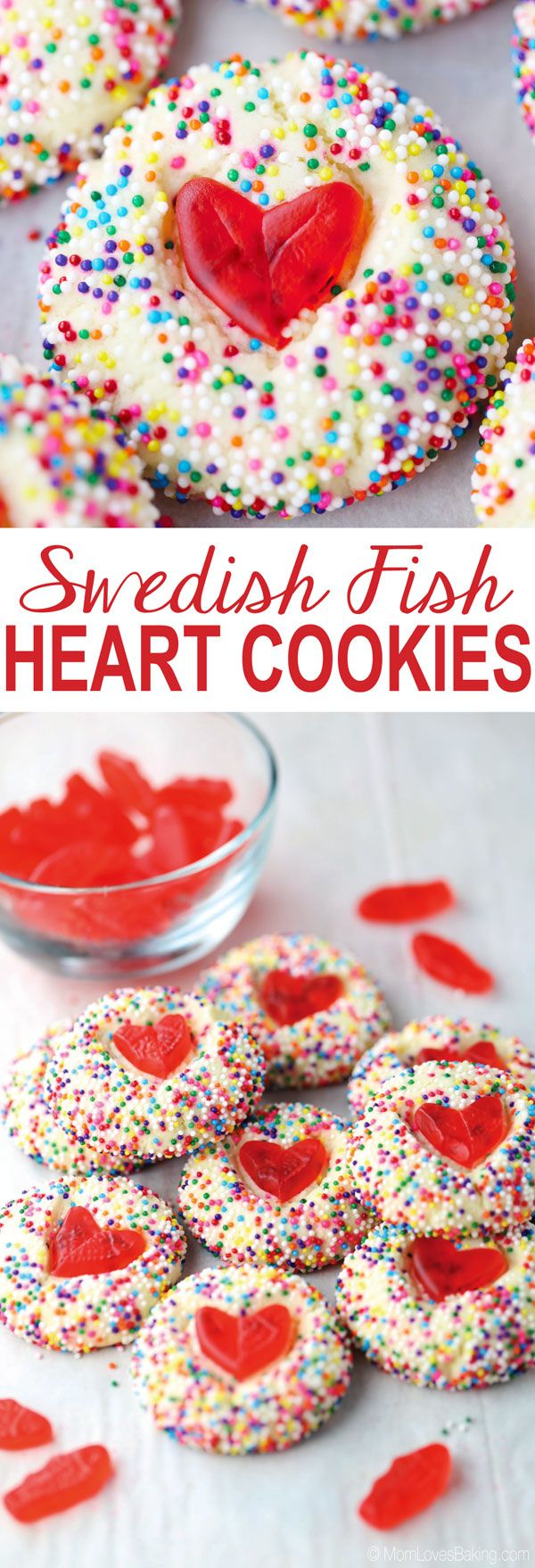 Swedish Fish Heart Cookies are buttery thumbprint cookies dipped in sprinkles and topped with a heart shaped Swedish Fish candy. Get the recipe on http://MomLovesBaking.com