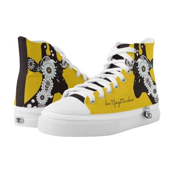 Funky Cool Paisley Giraffe Funny Animal Yellow High-Top Sneakers (57.170 CLP) ❤ liked on Polyvore featuring shoes, sneakers, yellow trainers, yellow high tops, paisley print shoes, paisley shoes and yellow high top shoes