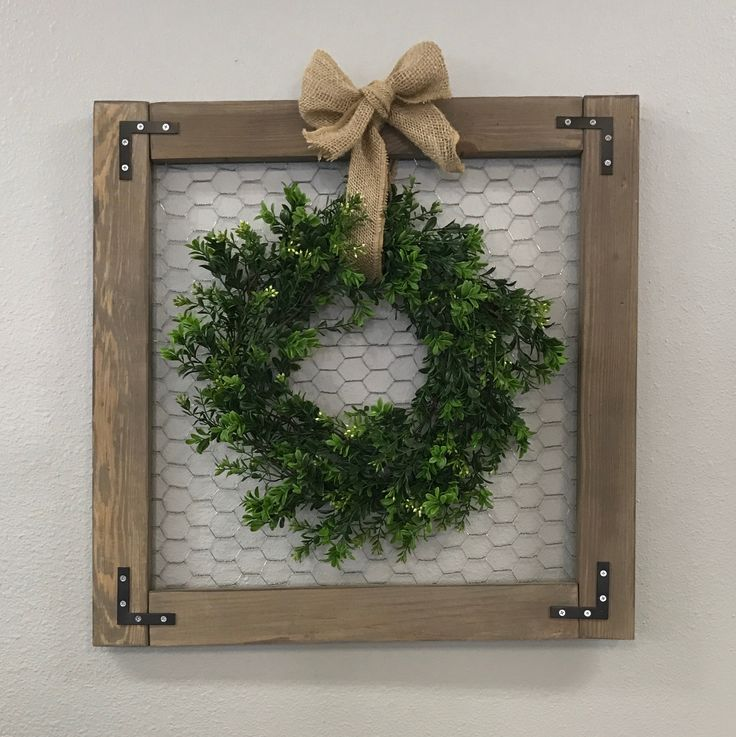 Rustic Chicken Wire Frame w/ Wreath 4/14