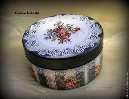 Baskets, Boxes for handmade. Fair Masters - handmade. Buy a round casket. Handmade. Grey, handmade jewelry box