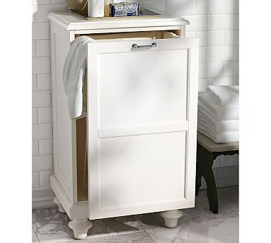 Hamper idea (this was from Pottery Barn) - freestanding is an option for counter, but what about putting a drawer like this in the towel rack space behind the door?