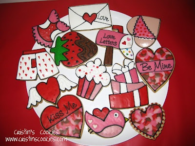 Valentine cookie platter by Cristin's Cookies