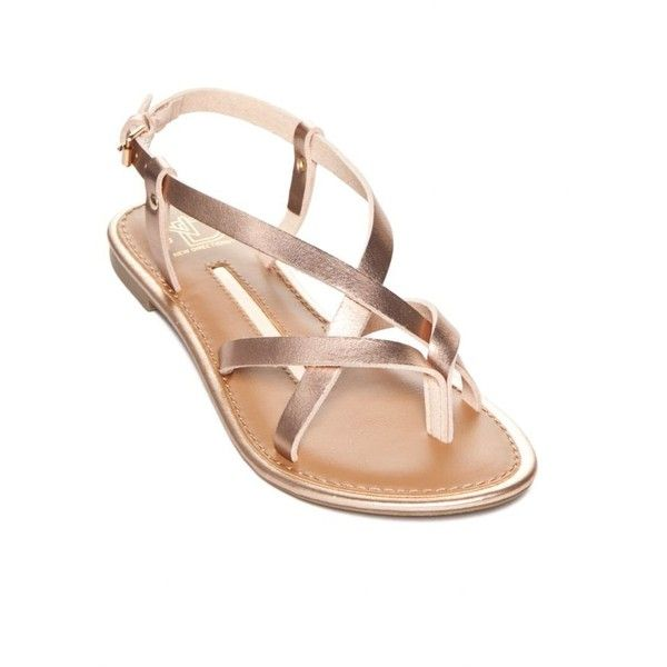 New Directions Rose Gold Juliana Strappy Flat Sandal - Women's ($30) ❤ liked on Polyvore featuring shoes, sandals, rose gold, flat footwear, strap sandals, strappy sandals, strappy flat sandals and rose gold flat sandals