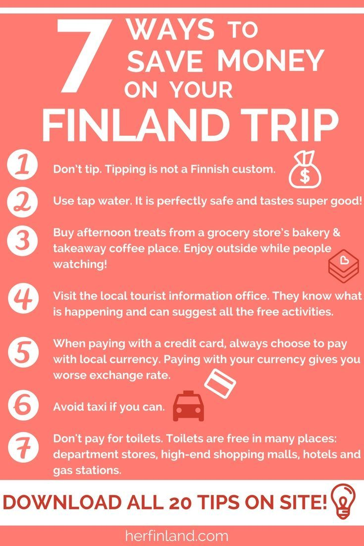Best money-saving tips and hacks for Finland via this article. Click and download the whole list!