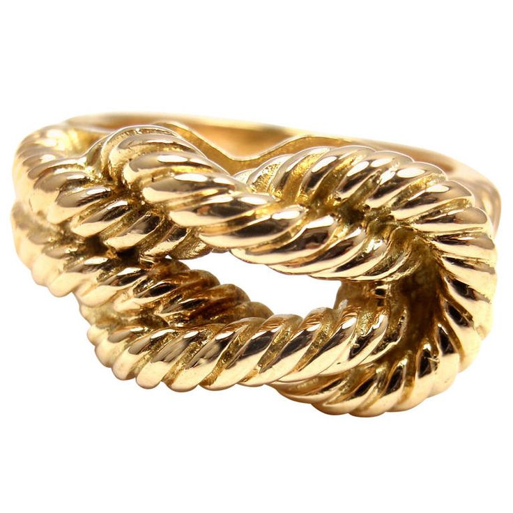 Hermes Hercules Knot Yellow Gold Band Ring | From a unique collection of vintage band rings at https://www.1stdibs.com/jewelry/rings/band-rings/