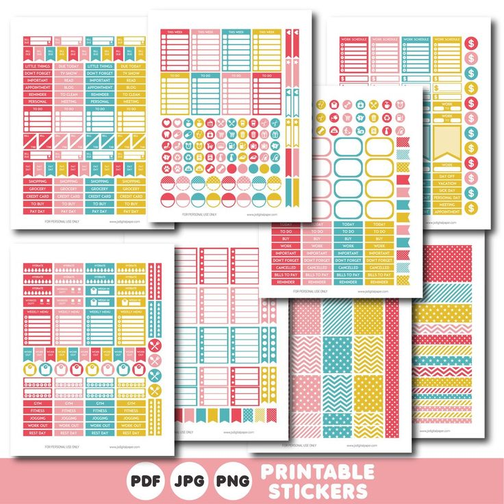 Pink and teal printable monthly and weekly planner stickers kit, STI-390