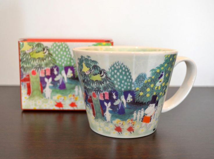 Moomin Valley Water Color Soup Mug Cup Yamaka Japan