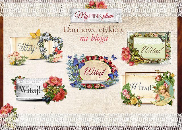"""My Pink Plum!: Upiększ swojego bloga / Darmowe etykietki """"Na powitanie"""""""