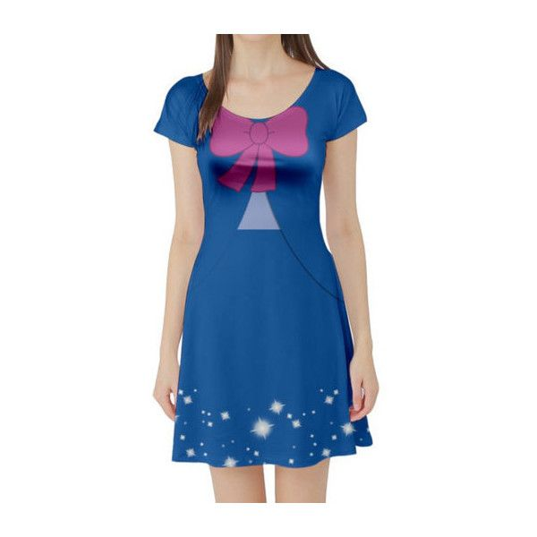 Fairy Godmother Cinderella Inspired Short Sleeve Skater Dress ($50) ❤ liked on Polyvore featuring dresses, silver, women's clothing, short sleeve skater dress, blue dress, above the knee dress, checkered dress and check print dress