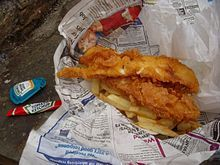 Fish and chips is a hot dish of English origin and an early example of culinary fusion,[1][2] consisting of fried battered fish and hot chips. It is a common take-away food.