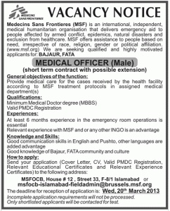 Medical Officer Jobs In Medecins Sans Frontieres  HbsadsCom