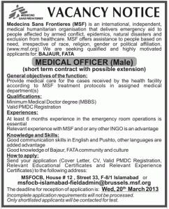 Medical Officer Jobs In Medecins Sans Frontieres  HbsadsCom