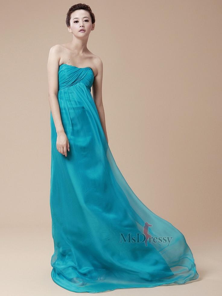 Strapless Chiffon Blue Pleating Prom Dress