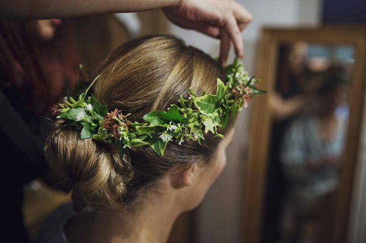 An Ivy Flower Crown For A Mythical Woodland Inspired Wedding. Photography by Mark Tattersall