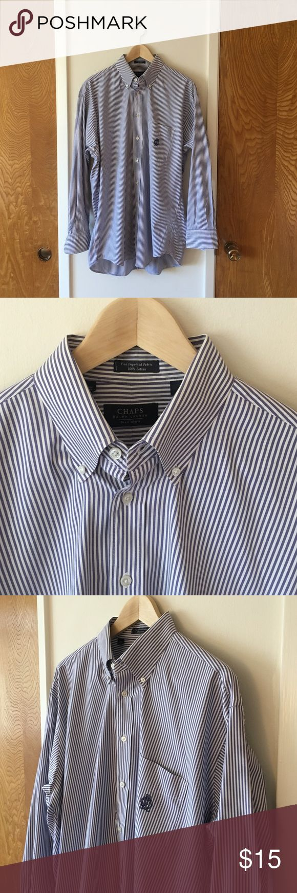 🎉 SALE: Chaps Ralph Lauren men's dress shirt 🎉 MOVING SALE - Everything must go: Chaps Ralph Lauren men's dress shirt. Blue stripes on white with classic embroidered logo on pocket. Gently worn and in great condition. Size 16-32/33. Ralph Lauren Shirts Dress Shirts