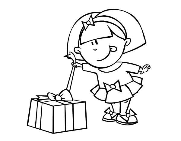 Dibujo de Niña con regalo para colorear | Dibujos de Navidad para ...