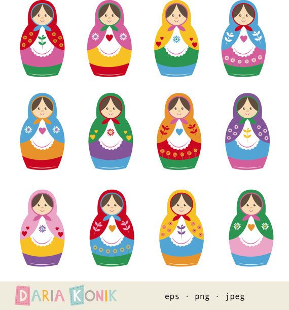 Matryoshka Dolls Clip Art Set nesting dolls babushka by dariakonik, €2.50
