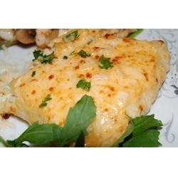 Heavenly Halibut, made this tonight.  Very good flavor.  I added everything at once. Baked it ok 350 for 15 mins, then broiled it till the cheese was bubbly and brown.  Use fresh halibut.  We used frozen and it has a fisher taste than normal.