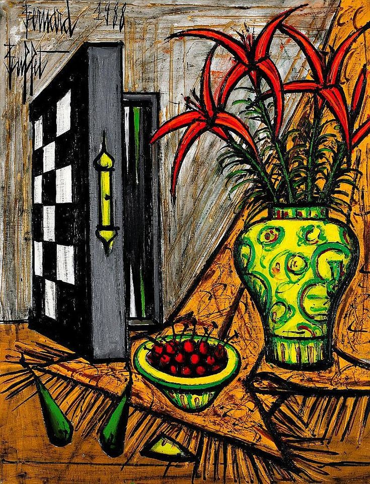 Bernard Buffet - Backgammon & Flowers, 1988